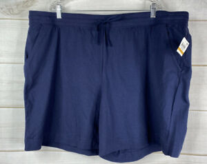 Karen Scott Blue Bermuda Shorts Elastic Waist Drawstring Side Pockets Sz 3X