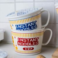 Large Ceramic Bowl Instant Noodle Ramen Soup Cup Mug And Lid With Printed Cover