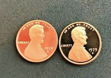 1979 S Type 1 and Type 2 Lincoln cent  Deep Cameo Gem Proof (2 coins)