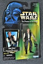 """STAR WARS POWER OF THE FORCE POTF 1995 KENNER 3 3/4"""" HAN SOLO US JAPAN GREEN"""