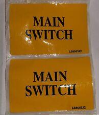 2 x Yellow Self Adhesive label MAIN SWITCH 80mm x 50mm