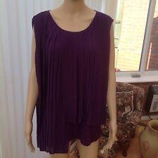 Andrew Yu Pleated Sleeveless Chiffon/Jersey Pleated Top in Purple size XXXL