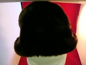 VINTAGE fully lined brown faux fur hat with 3 in border from crown