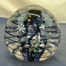 ART GLASS, HANDCRAFTED PAPERWEIGHT, CLEAR W/BLACK SNAKE, SIGNED