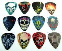 10pcs 0.71mm Death Human Skull DIY Earring Gift Musical Guitar Picks Plectrums