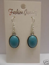 Oval Turquoise Earrings 925 Sterling Silver Wires - Clip On