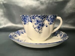 """""""Dainty Blue"""", Shelley, Fine Bone China from England, cup and saucer"""