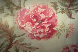 """Colefax and Fowler Poppies linen interlined curtains 57""""d tassels WITH FAULTS!"""