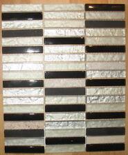 1x Glas Mosaikfliese - Schwarz - Weiß - Restposten