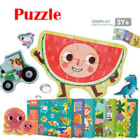 Toddler Cartoon Wooden Jigsaws Puzzle Game For Kids Educational Puzzles Toys