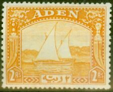 Aden 1937 2R Yellow SG10 Fine Lightly Mtd Mint
