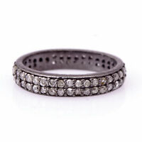 0.35ct Natural Diamond Pave Roundel Spacer Finding 925 Silver Handmade Jewelry
