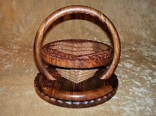 WOOD Collapsible TRIVET To BASKET Hand Carved w/ Handle ~ HEART Shape