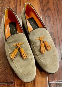 To Boot New York Adam Derrick Grey Suede Tassel Leather Loafers 8
