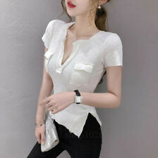 Short Sleeve T Shirt Women Slit Sexy Tight Fit Stretch V Neck Summer Blouse Tops