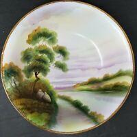 """Vintage Nippon Hand Painted Landscape 8.5"""" Bowl *EUC"""
