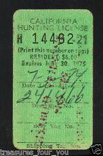 1974-1975 California Hunting Validation License Stamp Disabled Veteran No Fee