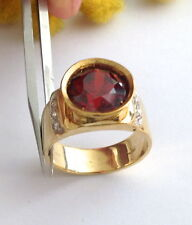 ANELLO IN ORO 18KT CON PIETRA SINTETICA - 18KT SOLID GOLD RING WITH RED STONE
