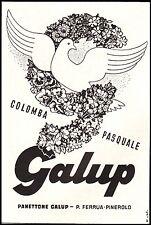 PUBBLICITA' 1957 COLOMBA PASQUA GALUP FERRUA PINEROLO PASTICCERIA DOLCI CACHE