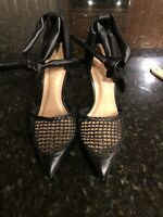 Anthropologie Vicenza Black Leather Sandals/Pumps, Size 9, NEW!