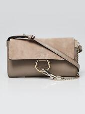 Chloe Motty Grey Leather and Suede Mini Faye Crossbody Bag