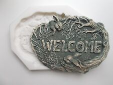 RABBIT WELCOME PLAQUE SILICONE RUBBER MOLD House Sign Wall Plaque
