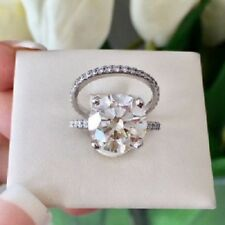 Wedding Ring Set 925 Silver Certified 2.30ct Brilliant Cut Moissanite Engagement