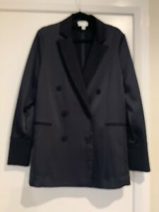 Witchery Satin Navy Blazer Jacket Sz 10, New