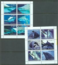 Thematics Congo 1997 Sharks-Dolphins 2 sheets of 6 MNH