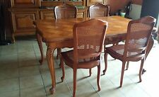 Meuble salle à manger ancien table chaises bois French vintage table chairs wood