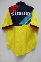 NWOT Vintage Team Suzuki Embroidered Racing Short Sleeve Shirt Yellow Men's XL