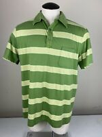 Men's Banana Republic Pima Cotton Short Sleeve Green StripeD Polo Shirt Size XL