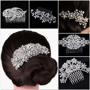 Vintage Bridal Wedding Hair Comb Retro Silver Crystal Glitzy Hair Clip Headpiece