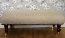 A Quality Long Footstool In Laura Ashley Josette Heart Fabric