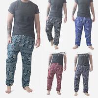 Mens Thai Yoga Pants / Elephant Harem Trousers Martial Arts Gym Drawstring Hippy