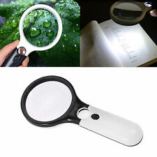 3 LED Handheld 3X /45X Magnifier Reading Magnifying Glass Lens Jewelry Loupe