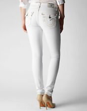 True Religion Women's Skinny White Jeans w/flap back pockets w off white Stitch