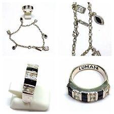Silberset 925er Silber Set Armband Ring Lumani weiße und schwarze Steine Onyx
