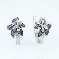UK Pretty Stud Earrings for Women 925 Silver Blue Sapphire Earrings A Pair/set