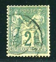 "FRANCE STAMP TIMBRE N° 74  ""  SAGE  2c  VERT TYPE II  "" OBLITERE TTB"