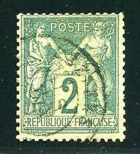 "FRANCE STAMP TIMBRE YVERT N° 74  ""  SAGE  2c  VERT TYPE II  "" OBLITERE TTB"