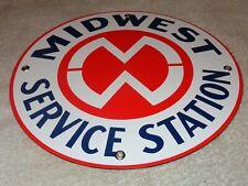 """VINTAGE MIDWEST SERVICE STATION 10"""" PORCELAIN METAL GASOLINE OIL PUMP PLATE SIGN"""