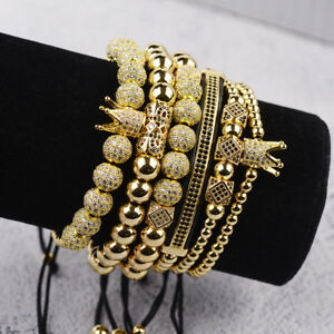 New Luxury Micro Pave CZ Ball Crown Charm Bracelet Men's Copper Bead Bracelets
