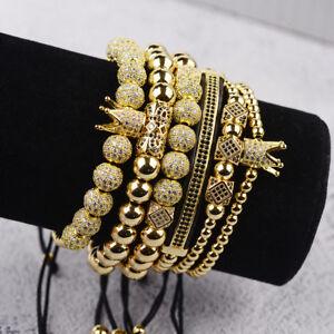 Men's Luxury Micro Pave CZ Ball Crown Charm Bracelet Men's Copper Bead Bracelets
