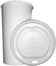 100 Sets 10 Oz Tankon Compostable Paper Hot Coffee Cups With Cpla Lids