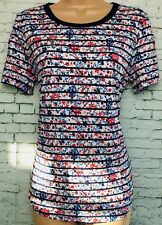 BNWT OASIS S navy stripe pink floral tunic short sleeve t-shirt top