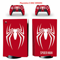 Spiderman Vinyl Decal Skin Wrap Sticker for PS5 Console Controllers Disc Version