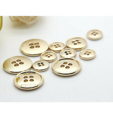 10pcs Gold Round 4-Hole Eye Flat Metal Buttons Coat Sewing Embellishment 11mm