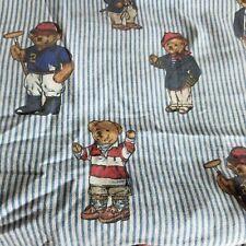 Vintage Ralph Lauren Teddy Bear POLO Blue Stripe Queen Fitted Sheet Made USA