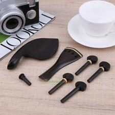 Set of 4/4-3/4 Pure Ebony Violin Chinrest Tailpiece Pegs Tail Column Hand-made